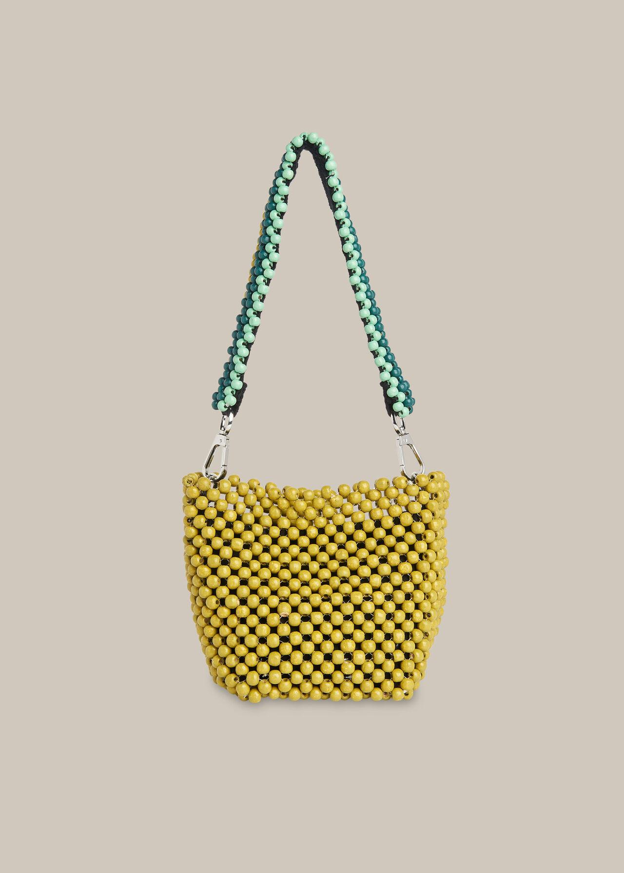 Martha Mini Beaded Bucket Bag Green