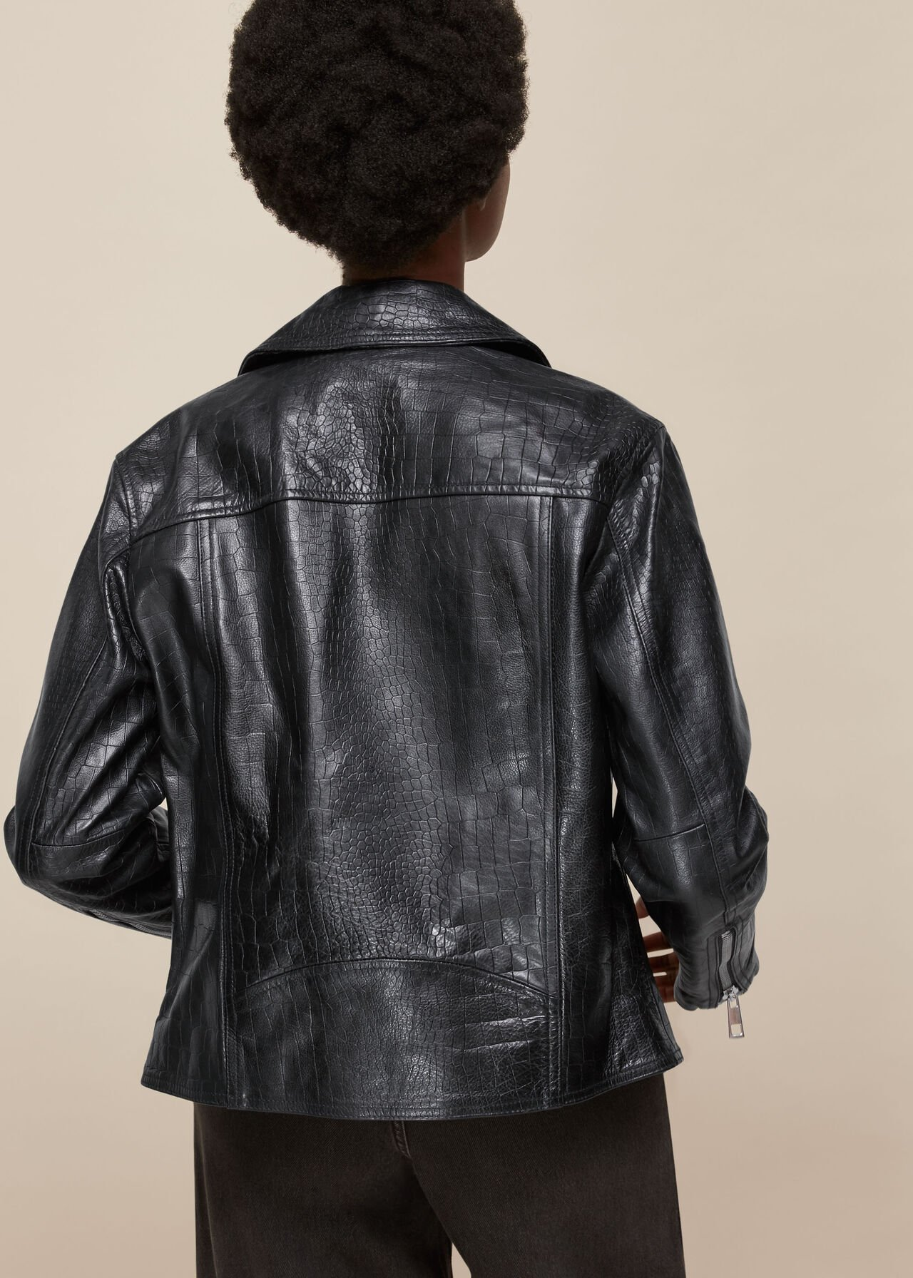 Adriana Leather Croc Biker Black