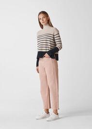 Stripe Funnel Neck Wool Knit