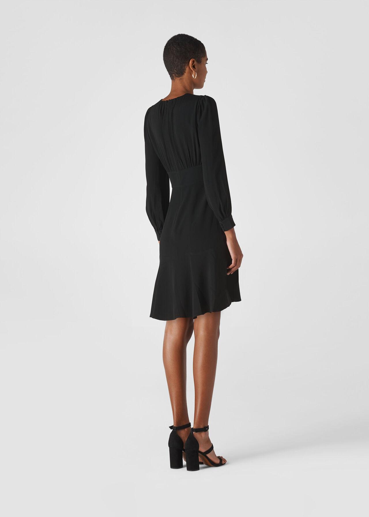 Short Button Through Dress Black