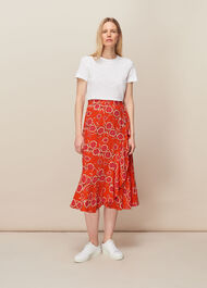 Diagonal Floral Skirt Multicolour