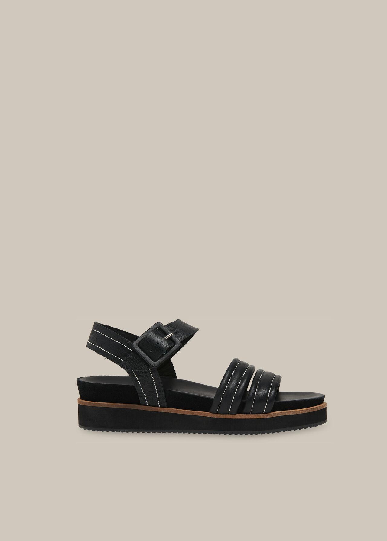 Koby Contrast Stitch Sandal Black