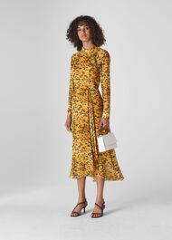 Ines Ikat Animal Dress Yellow/Multi