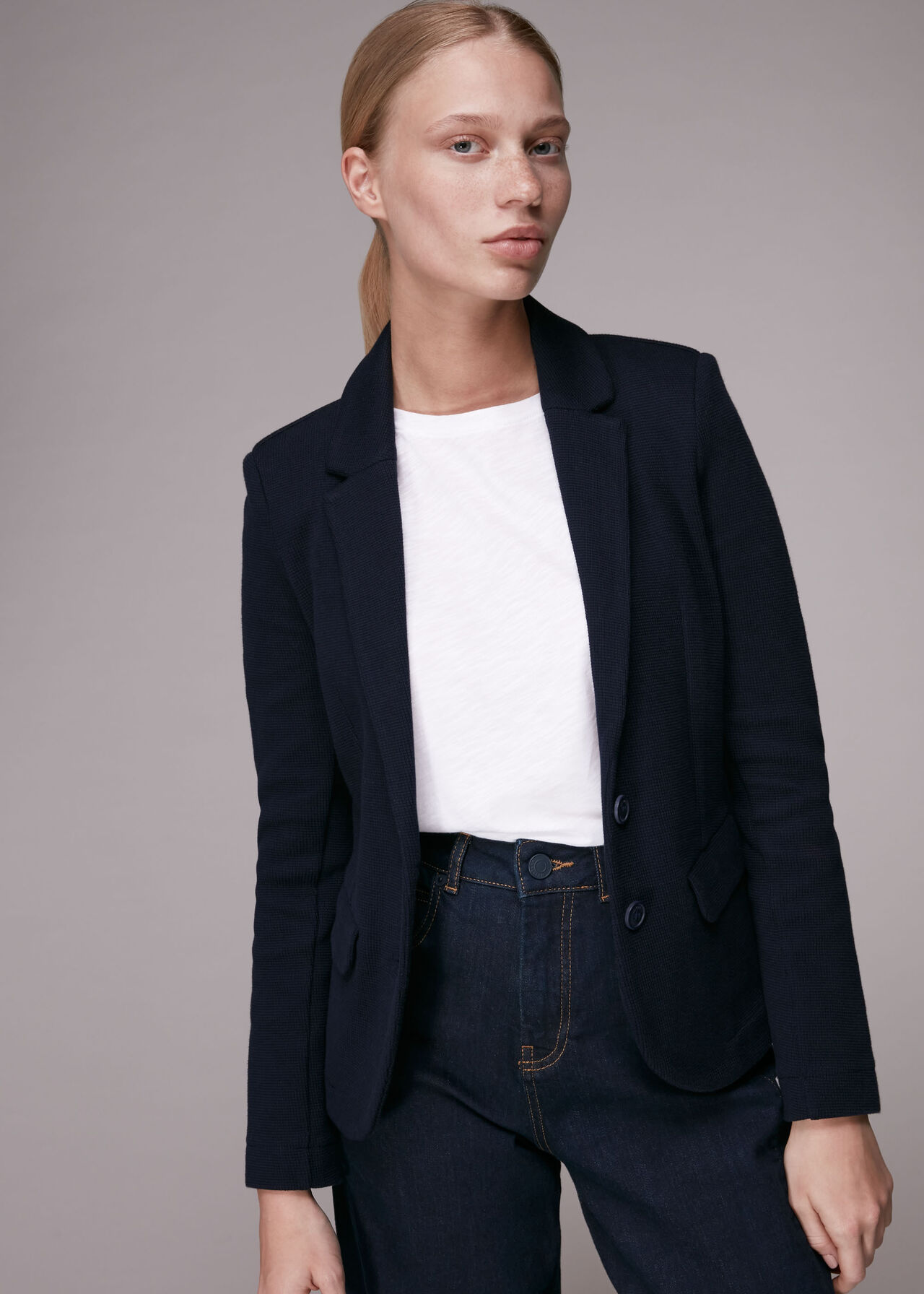 Slim Jersey Jacket Navy