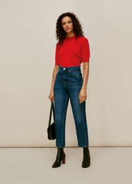 Puff Short Sleeve Knit Red