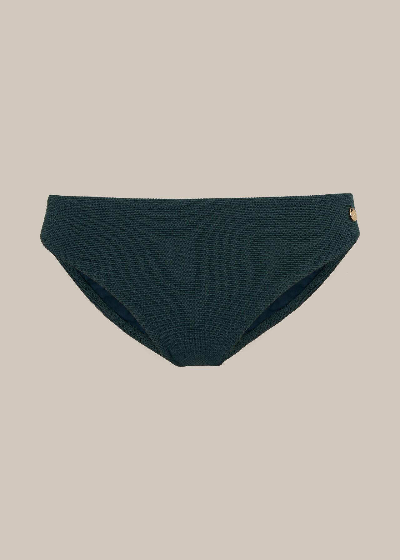 Textured Bikini Bottom Dark Green