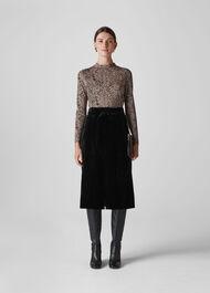 Crushed Velvet Buckle Skirt