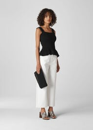 Rouched Square Neck Top Black