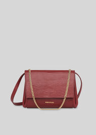 Eleni Lizard Crossbody Bag Burgundy