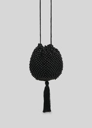 Lila Beaded Drawstring Bag Black