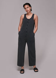 Jersey Button Front Jumpsuit