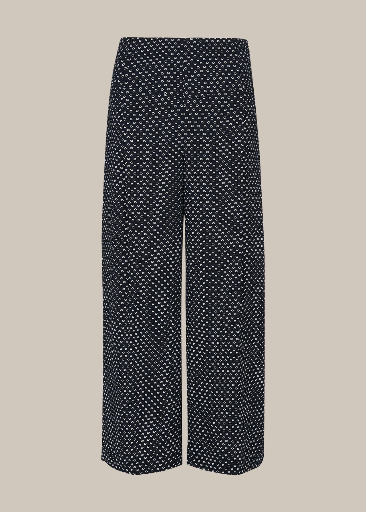 Circle Spot Crepe Trouser Navy/Multi