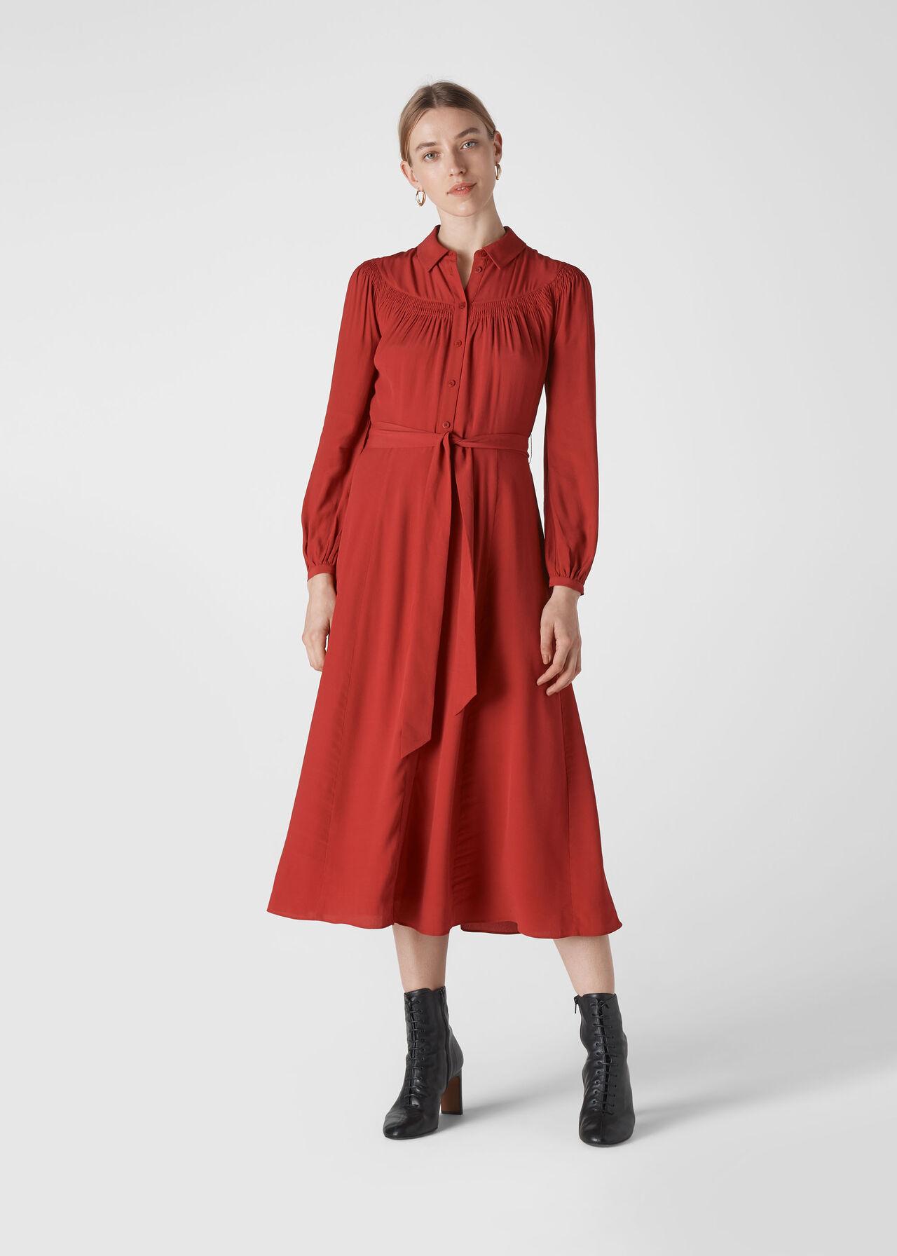Smocked Yoke Shirt Dress Red