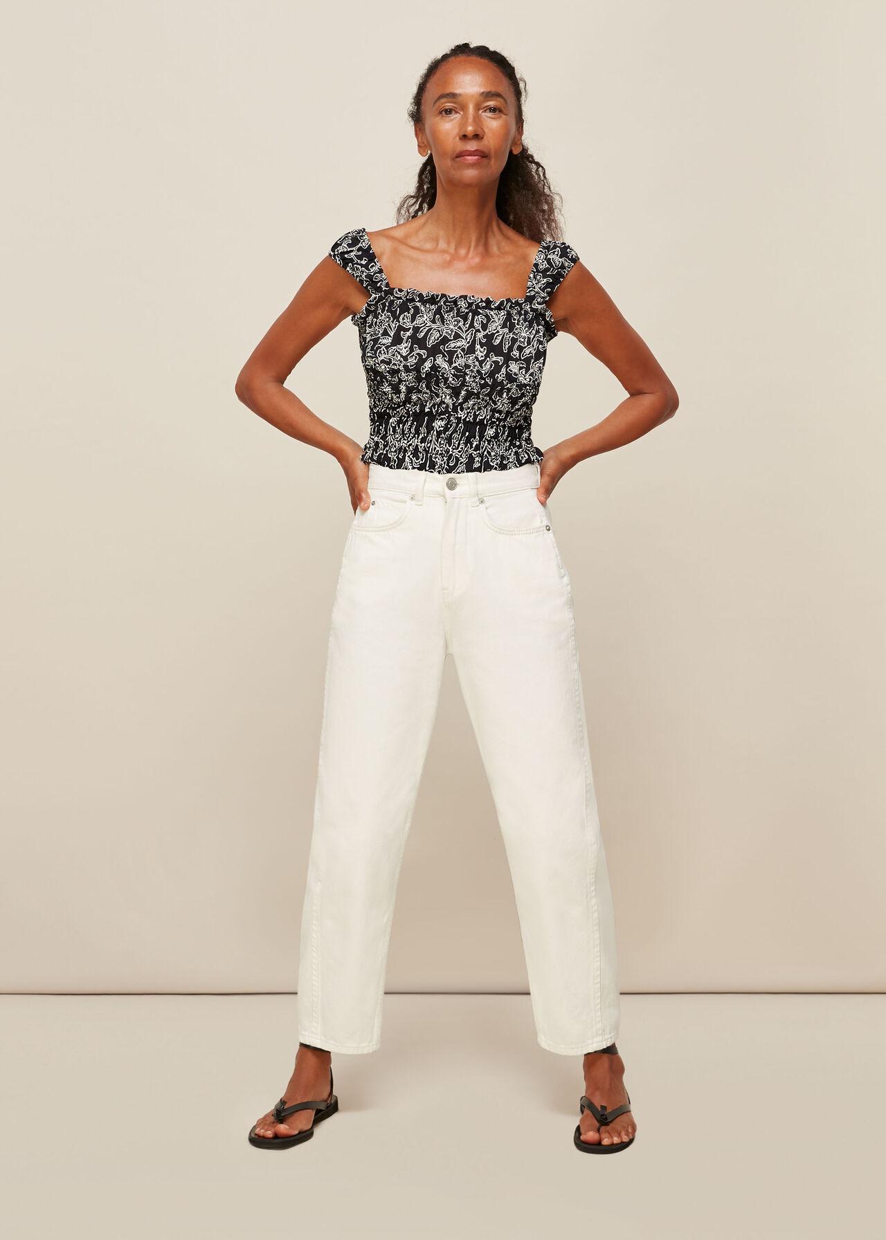 Jasmine Print Silk Top Black/Multi