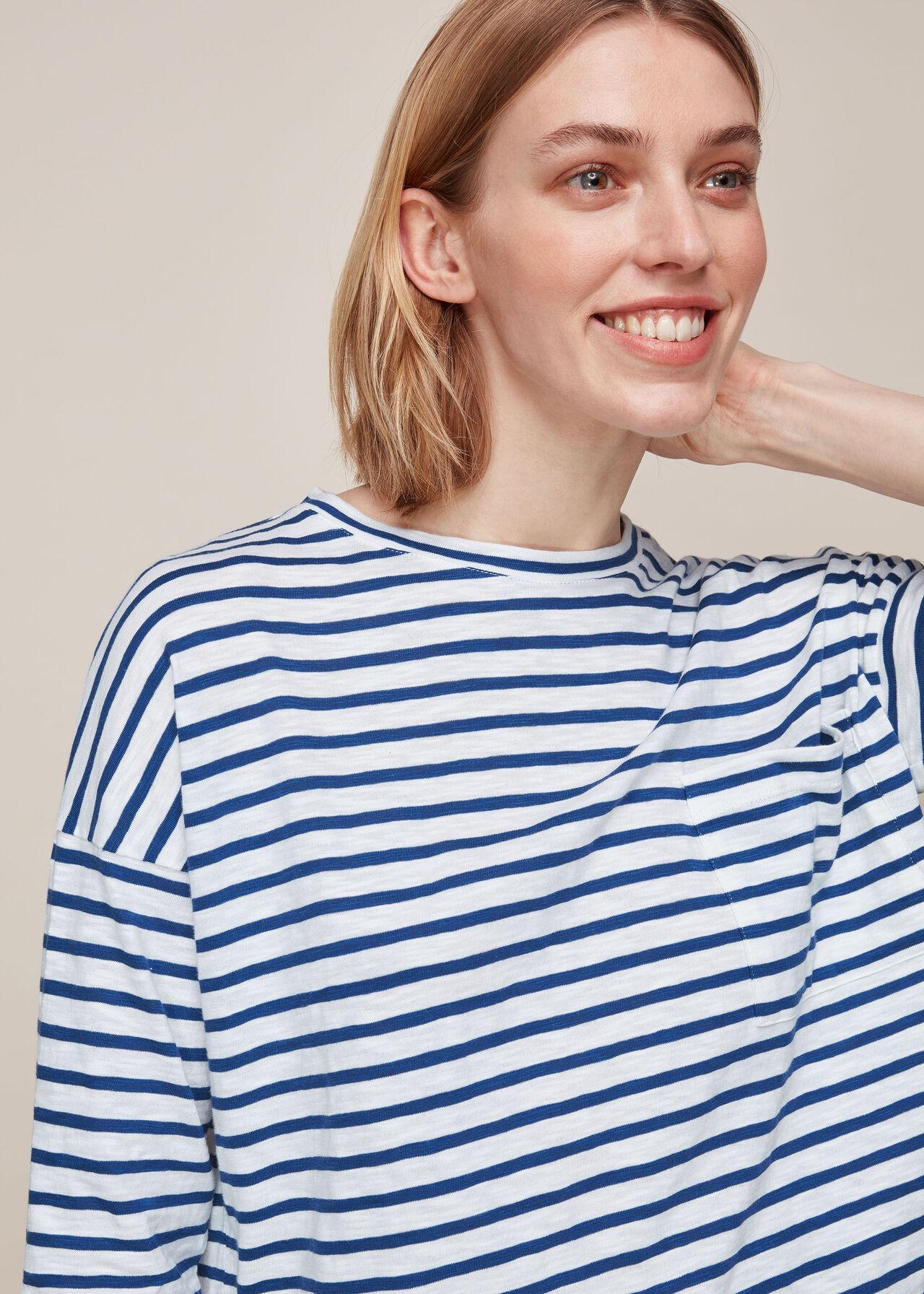 Cotton Pocket Stripe Top Blue/Multi