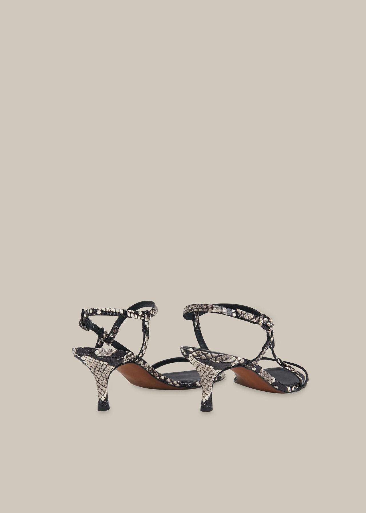 Milana Asymmetric Sandal Snake Print