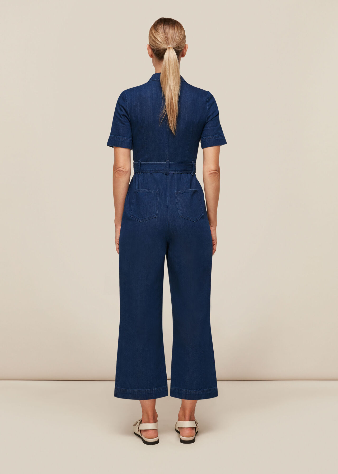 Tie Waist Denim Jumpsuit