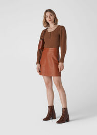 Leather A Line Skirt Rust