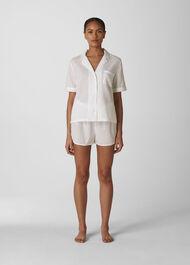 Stripe Dobby Pyjama Shirt White