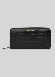 Shiny Croc Long Purse Black