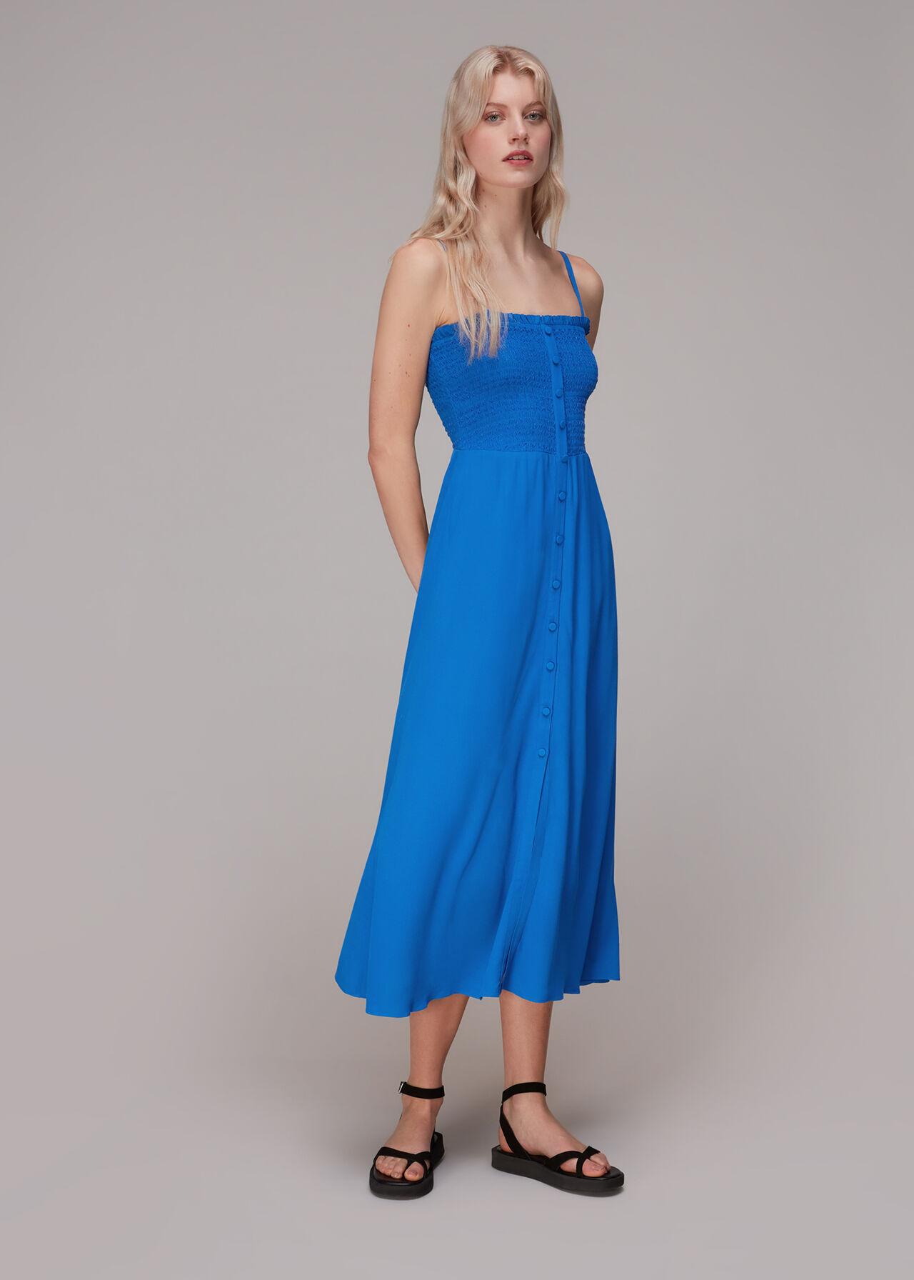 Gracia Smocked Dress Blue