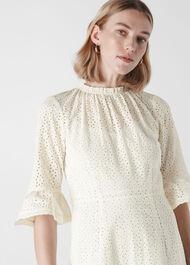Augustina Broderie Dress Ivory/Multi