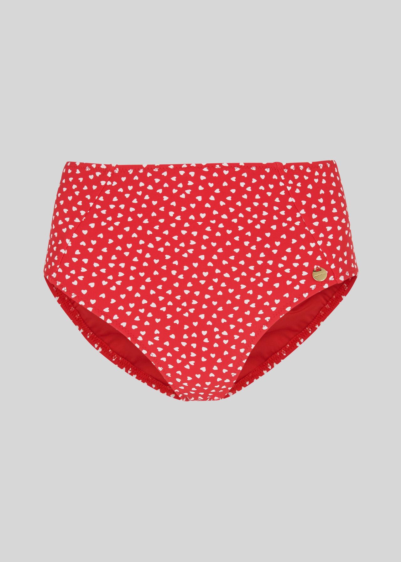 Heart Print Bikini Bottom Red/Multi
