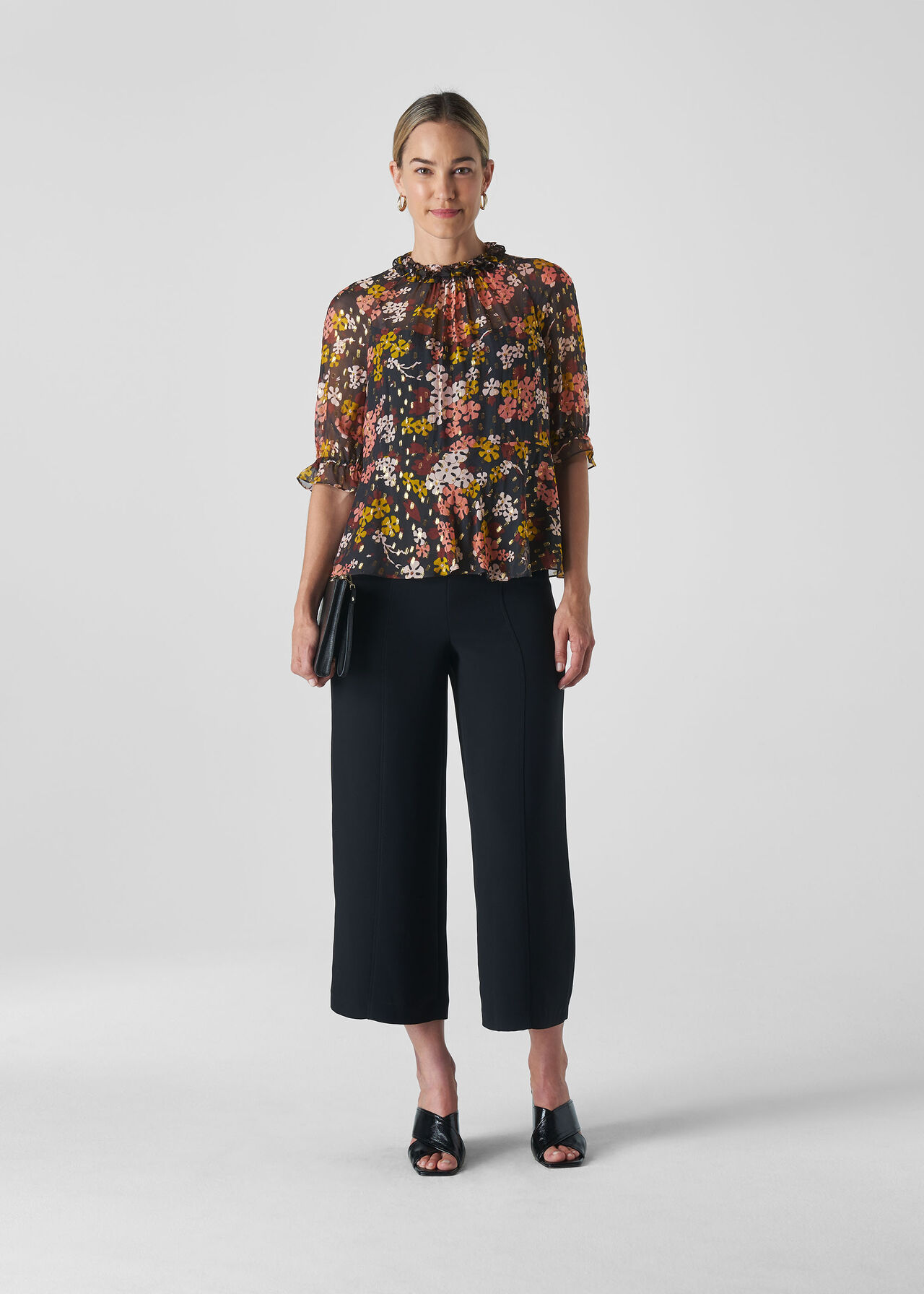 Clover Floral Silk Mix Top Multicolour