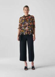 Clover Floral Silk Mix Top Multicolour