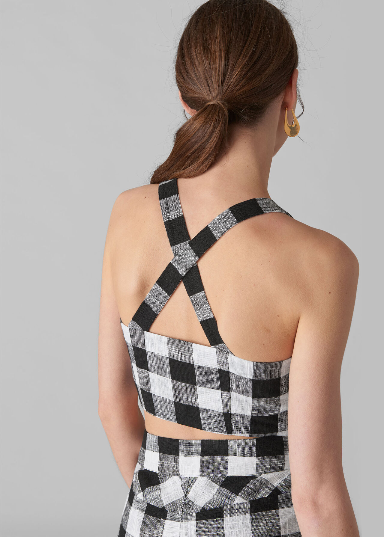 Gingham Button Up Bralette Black and White