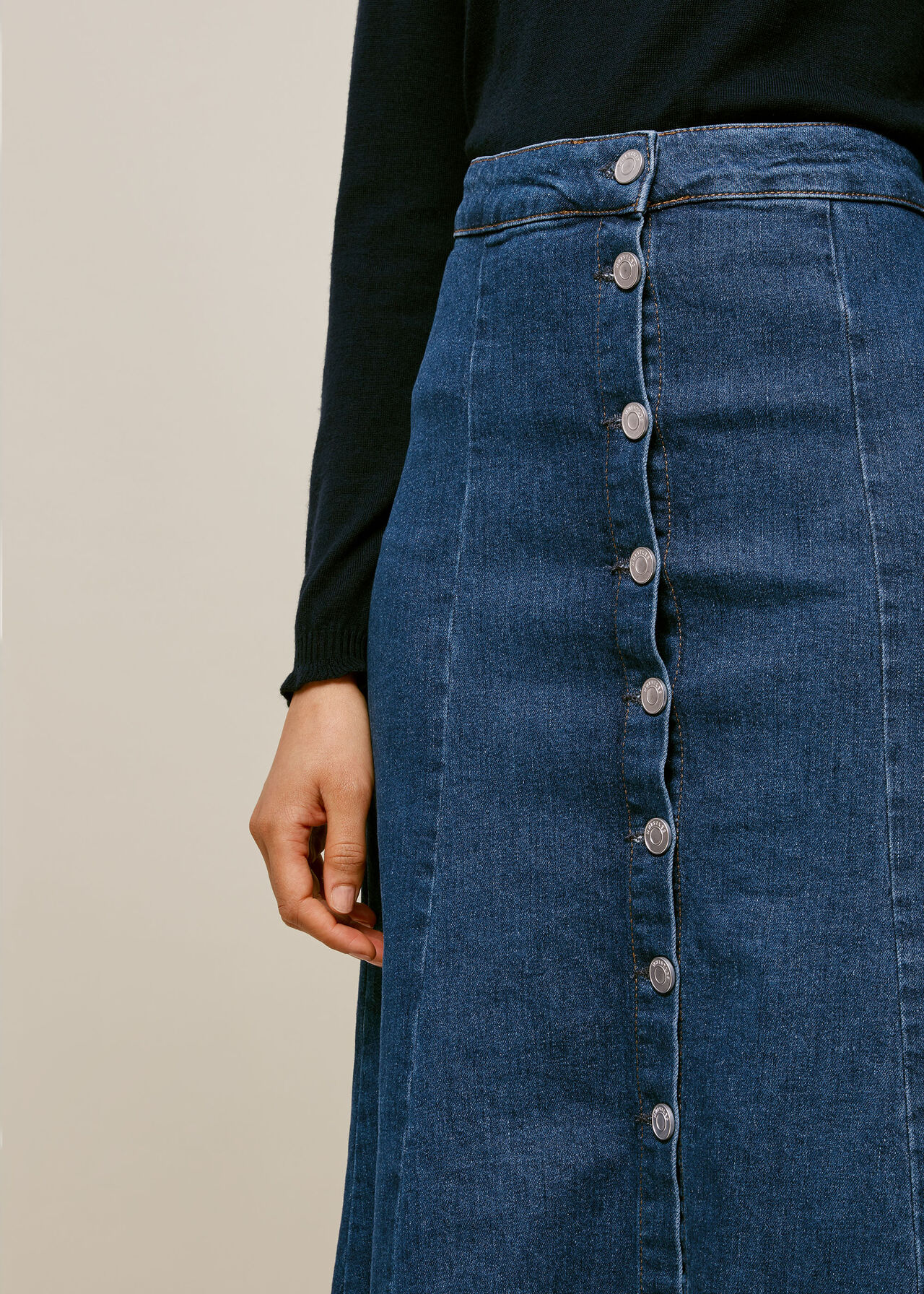 Denim Button Through Skirt Denim