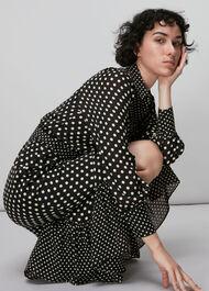 Spot Print Silk Shirt Dress