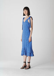 Lunar Spot Tie Shoulder Dress Blue/Multi