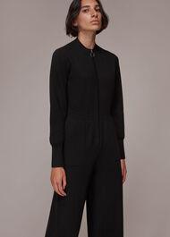 Zip Front Knit Jumpsuit