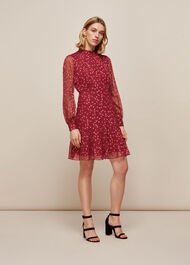 Falling Leaves Silk Dress Pink/Multi