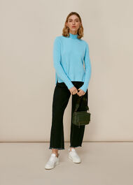 Funnel Neck Knit Pale Blue