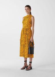 Animal Print Tiered Dress Yellow/Multi