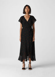Heart Embroidered Maxi Dress Black