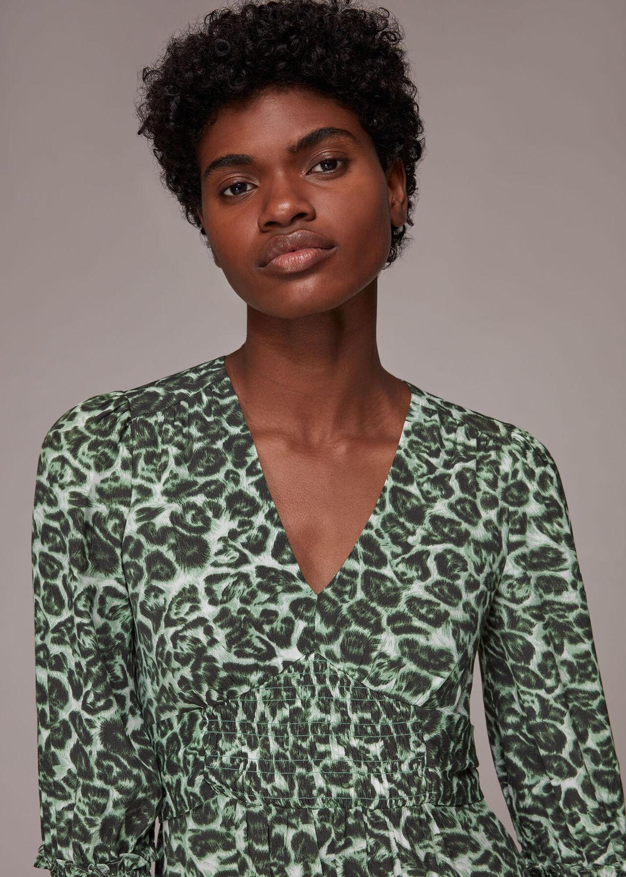 Clouded Leopard Shirred Dress