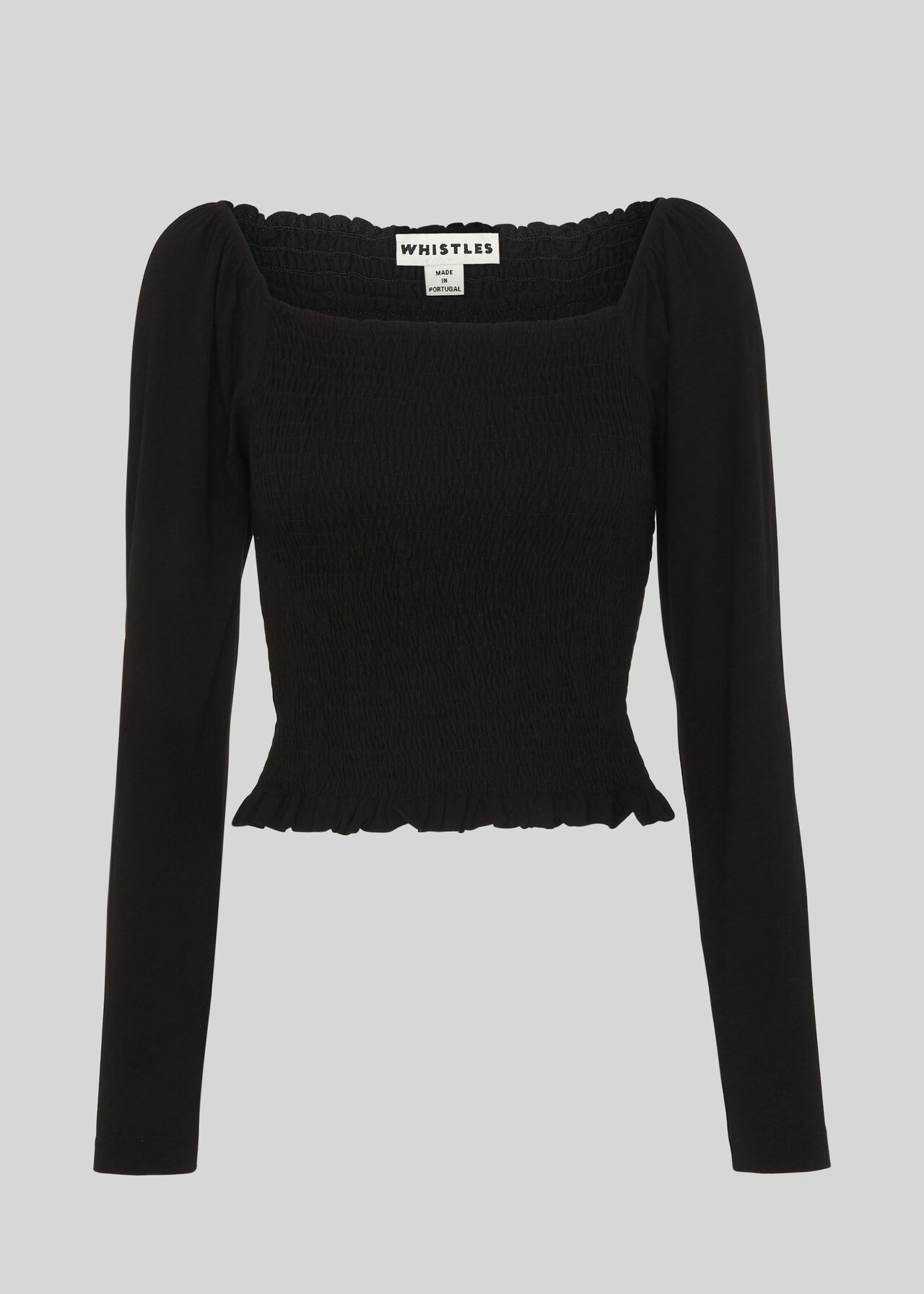 Square Neck Rouched Top Black