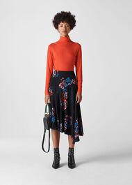 Freya Print Asymmetric Skirt Black/Multi