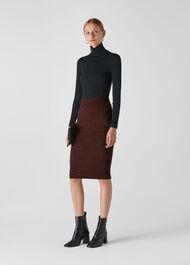 Animal Jacquard Tube Skirt Burgundy