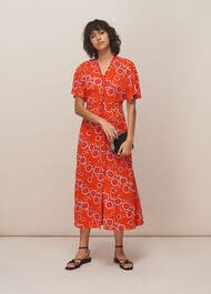 Ella Diagonal Floral Dress Red/Multi