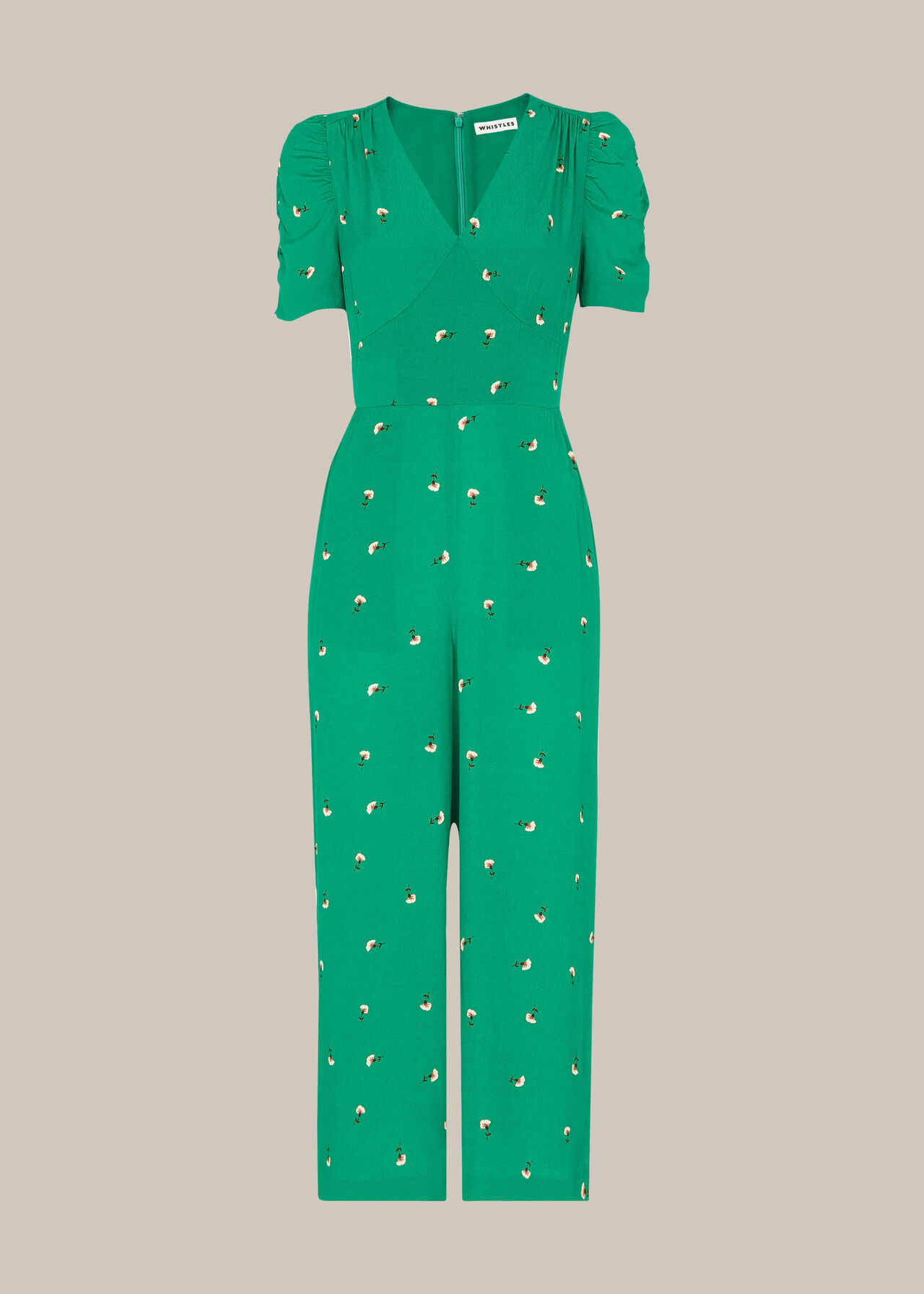 Romantic Floral Print Jumpsuit Green/Multi