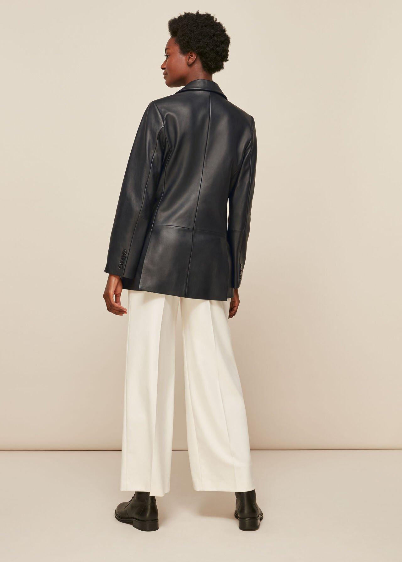 Aliza Waisted Leather Blazer