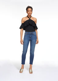 Frill Halter Neck Knit Black