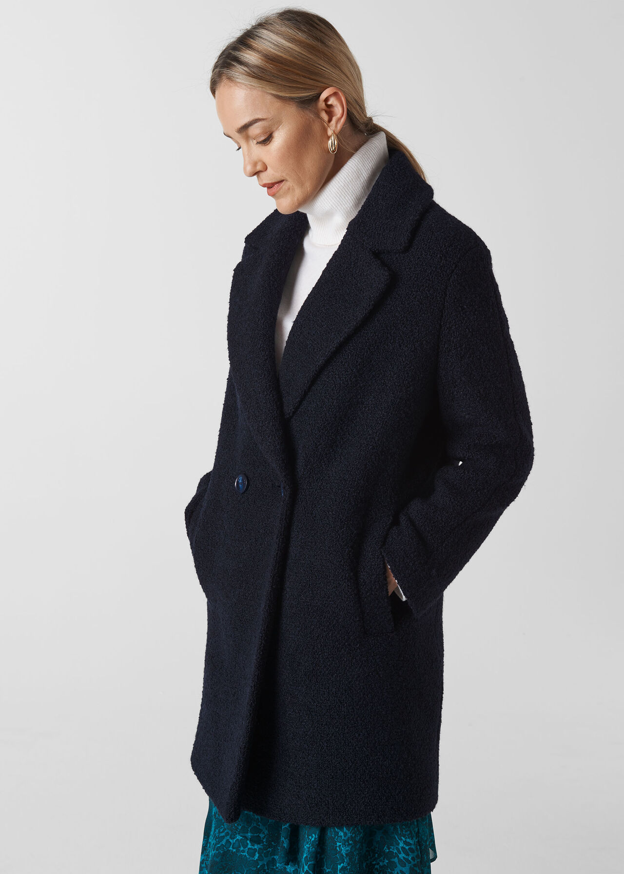 Boucle Double Breasted Coat Navy