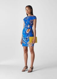 Exotic Floral Silk Bodycon Blue/Multi