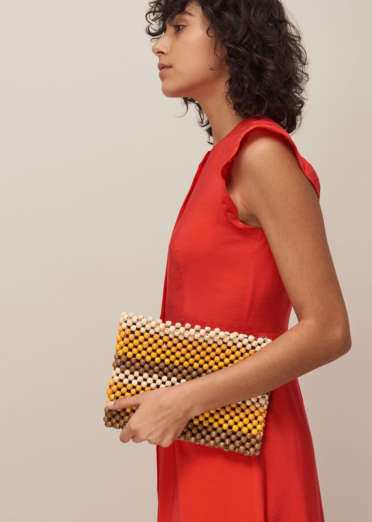 Safah Striped Beaded Clutch Yellow