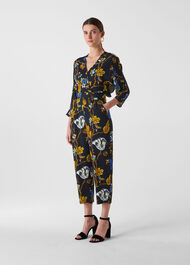 Scarf Print Jumpsuit Black/Multi